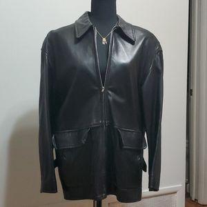 Vintage Anne Klein II Leather Blazer Jacket